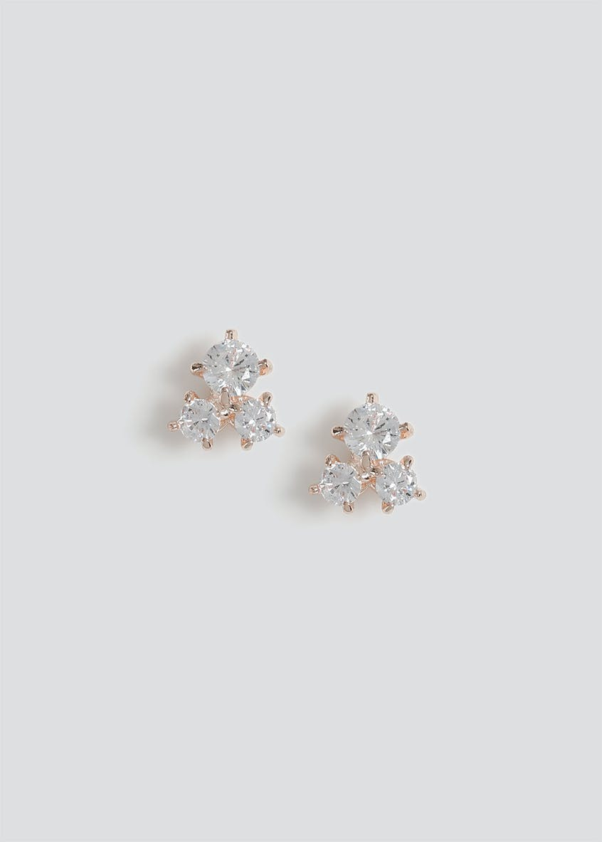 Cubic Zirconia Trio Stud Earrings