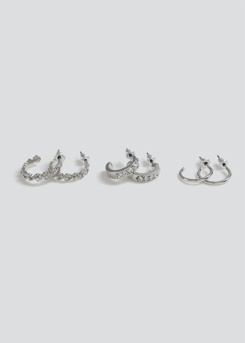 3 Pack Rhinestone Hoop Earrings