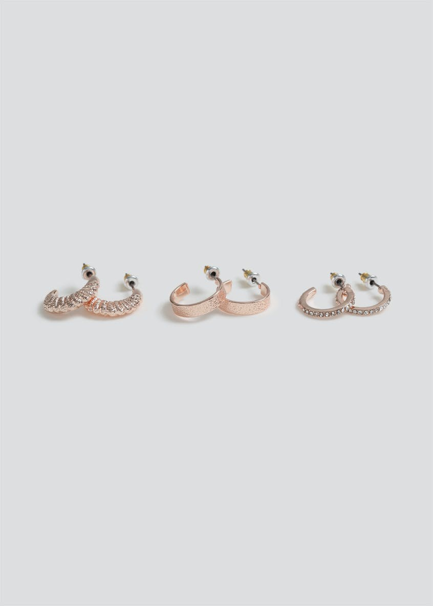 3 Pack Small Rhinestone Hoop Earrings