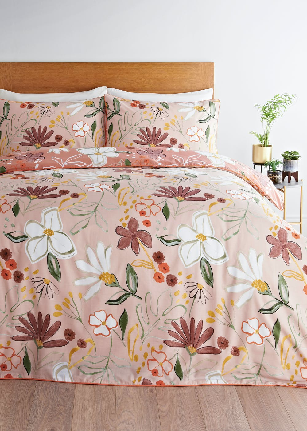 Reversible Painted Floral Duvet Cover