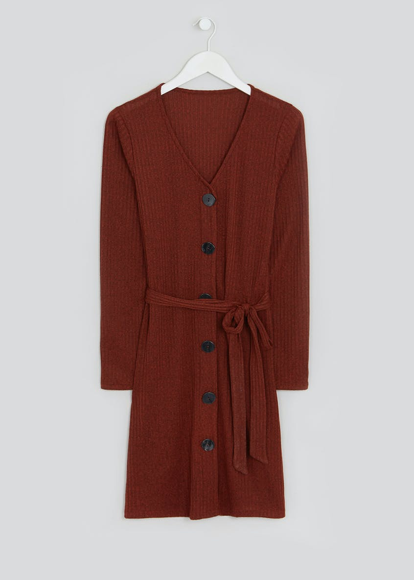 Rust Long Sleeve Ribbed Button Through Dress