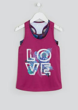 Girls Souluxe Pink 2 in 1 Tropical Print Sports Vest (4-13yrs)