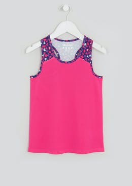Girls Souluxe Pink Heart Print Sports Vest (4-13yrs)