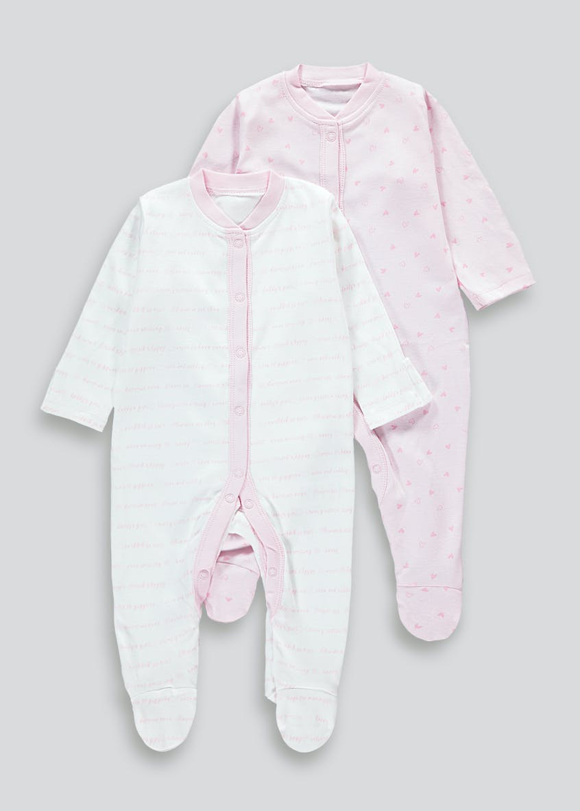 Girls 2 Pack Baby Grows (Tiny Baby-23mths)