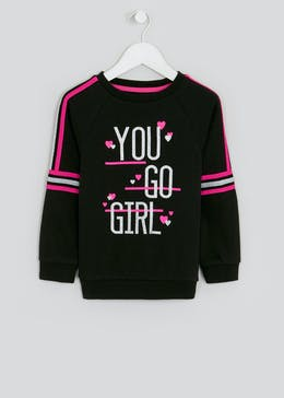 Girls Souluxe Black Slogan Sweatshirt (4-13yrs)