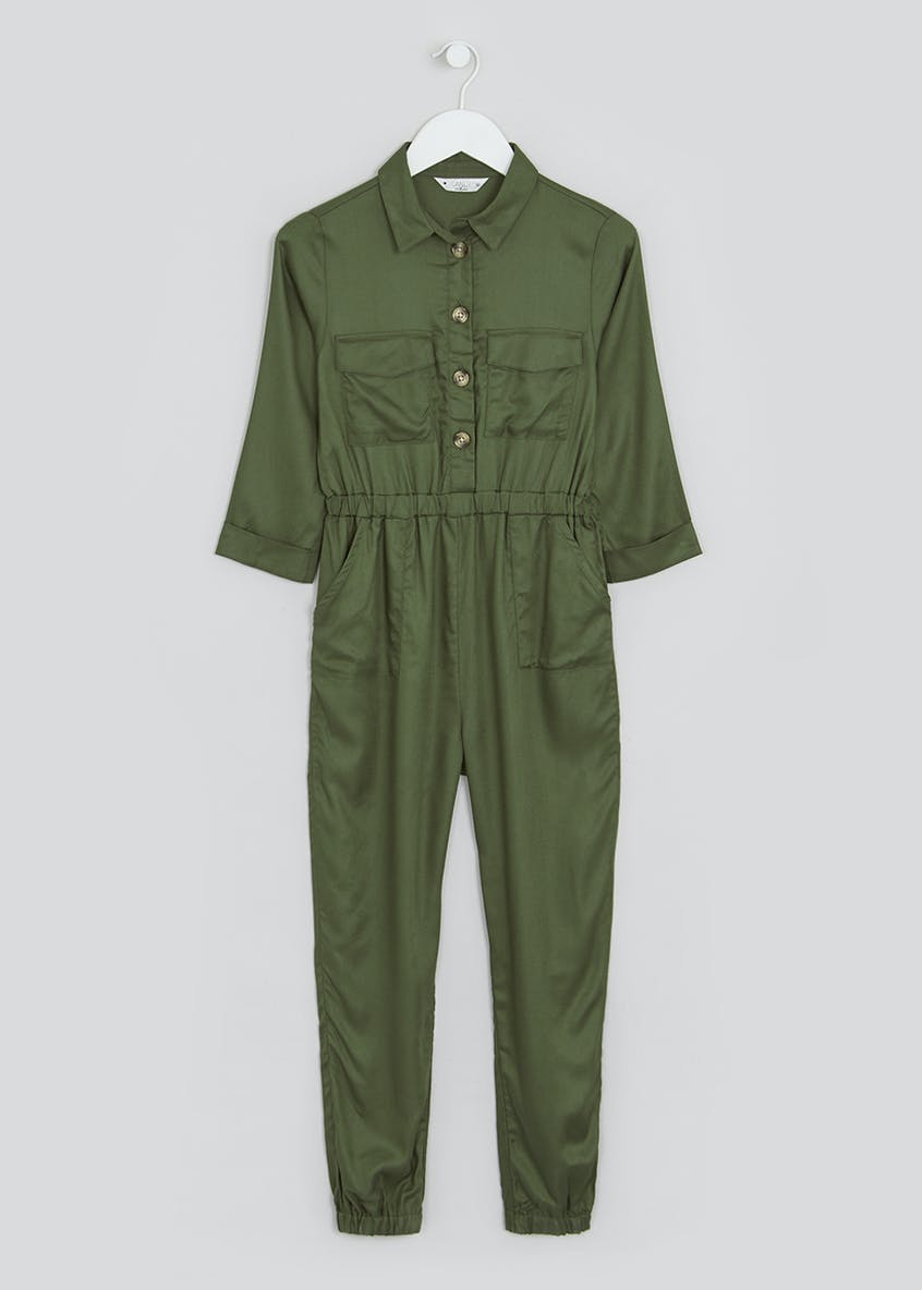 Girls Candy Couture 3/4 Sleeve Utility Jumpsuit (9-16yrs)