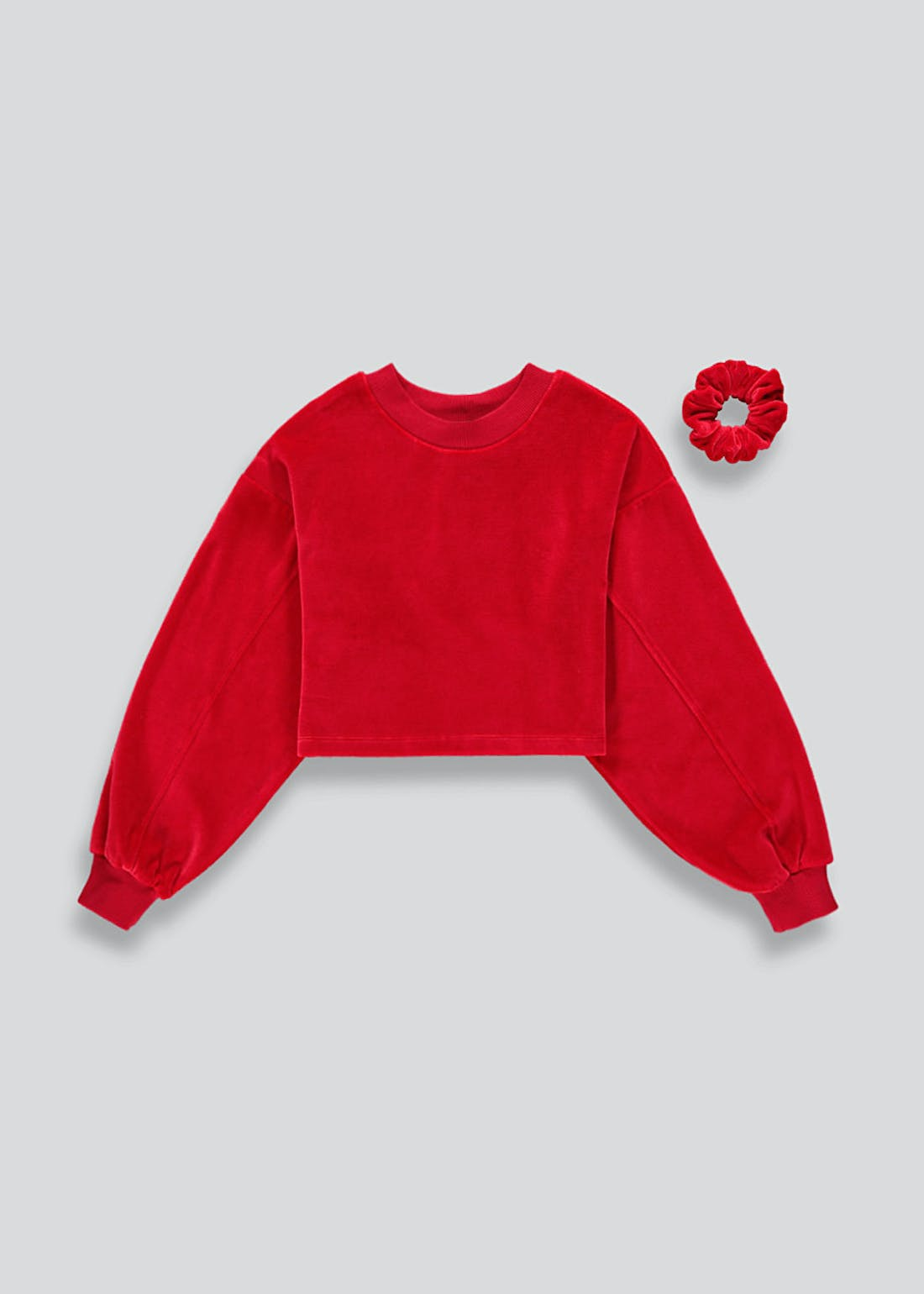 Girls Candy Couture Velvet Sweatshirt & Scrunchie Set (9-16yrs)