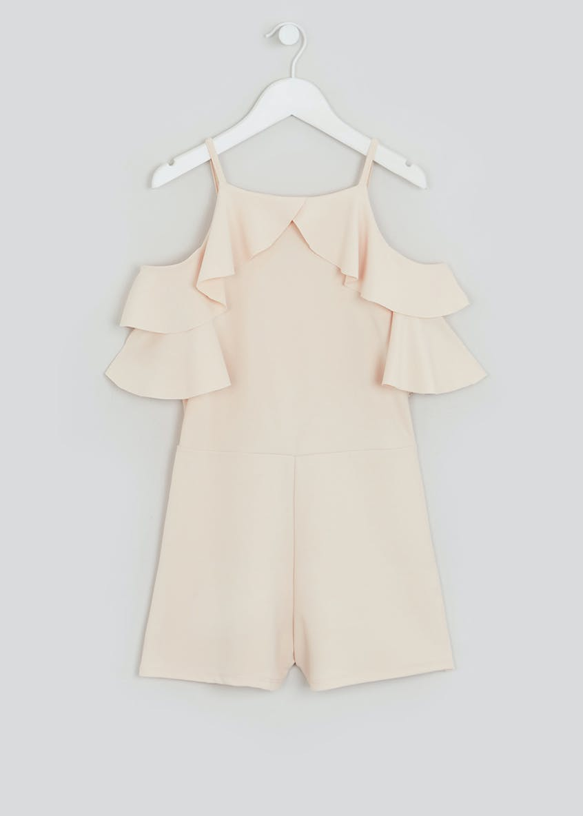 Girls Candy Couture Nude Frill Sleeve Playsuit (9-16yrs)