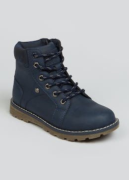 Boys Navy Lace Up Hiker Boots (Younger 10-Older 6)