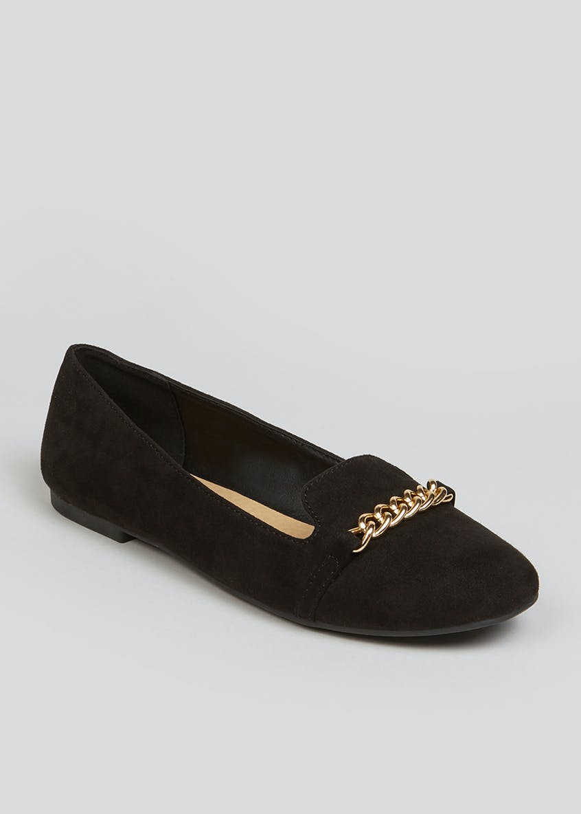 Black Metal Chain Loafers
