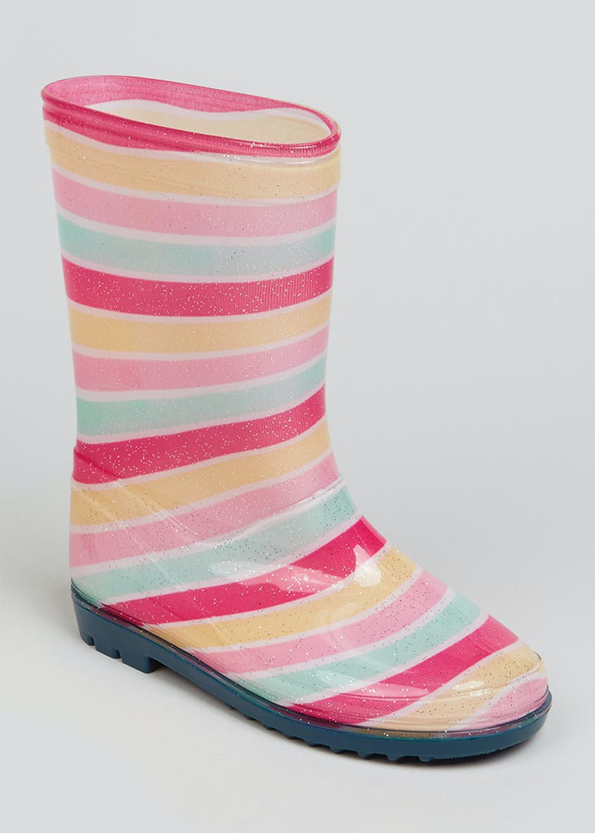 Girls Sparkle Stripe Wellies (Younger 10-Older 5)