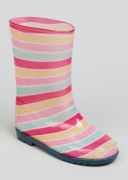 Girls Stripe Wellies (Younger 4-9)