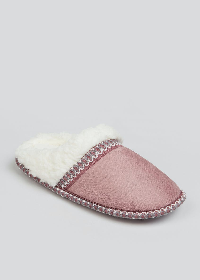 Pink Faux Fur Lined Mule Slippers