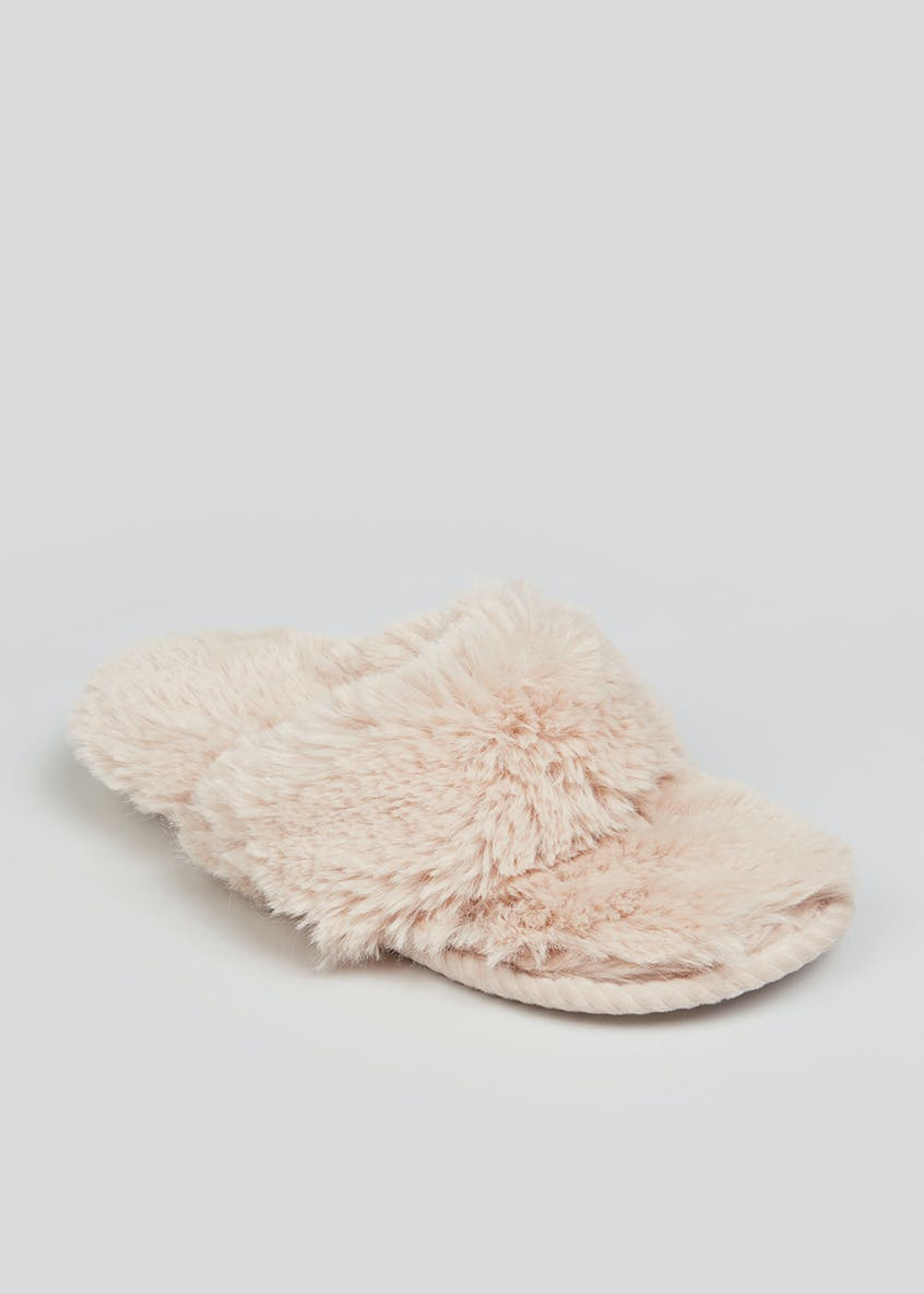 Natural Faux Fur Toe Post Slippers