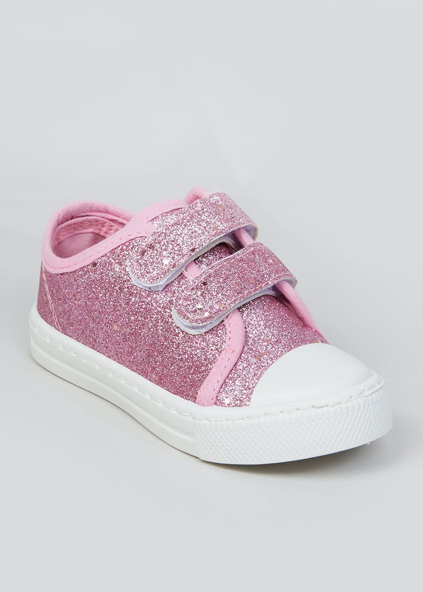 Girls Pink Sparkle Canvas Trainers (Younger 4-12)