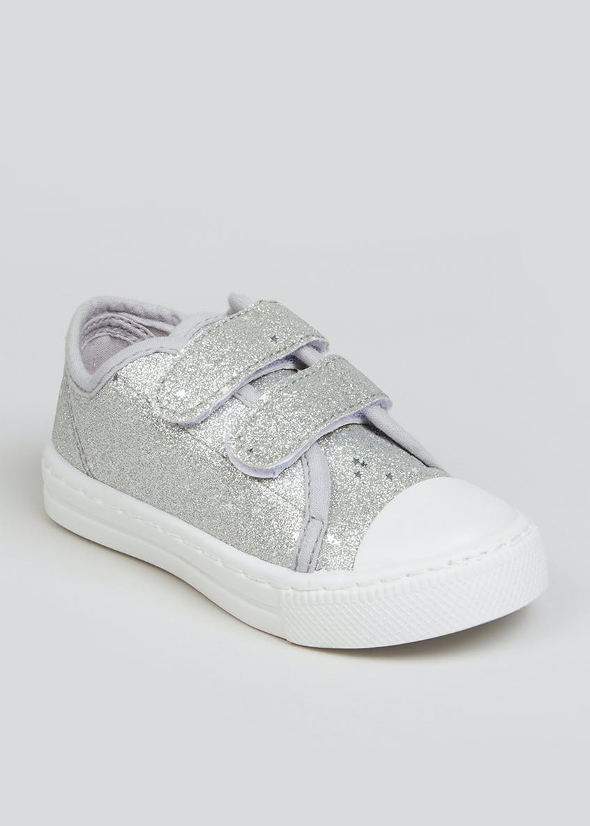 Girls Silver Sparkle Canvas Trainers (Younger 4-12)