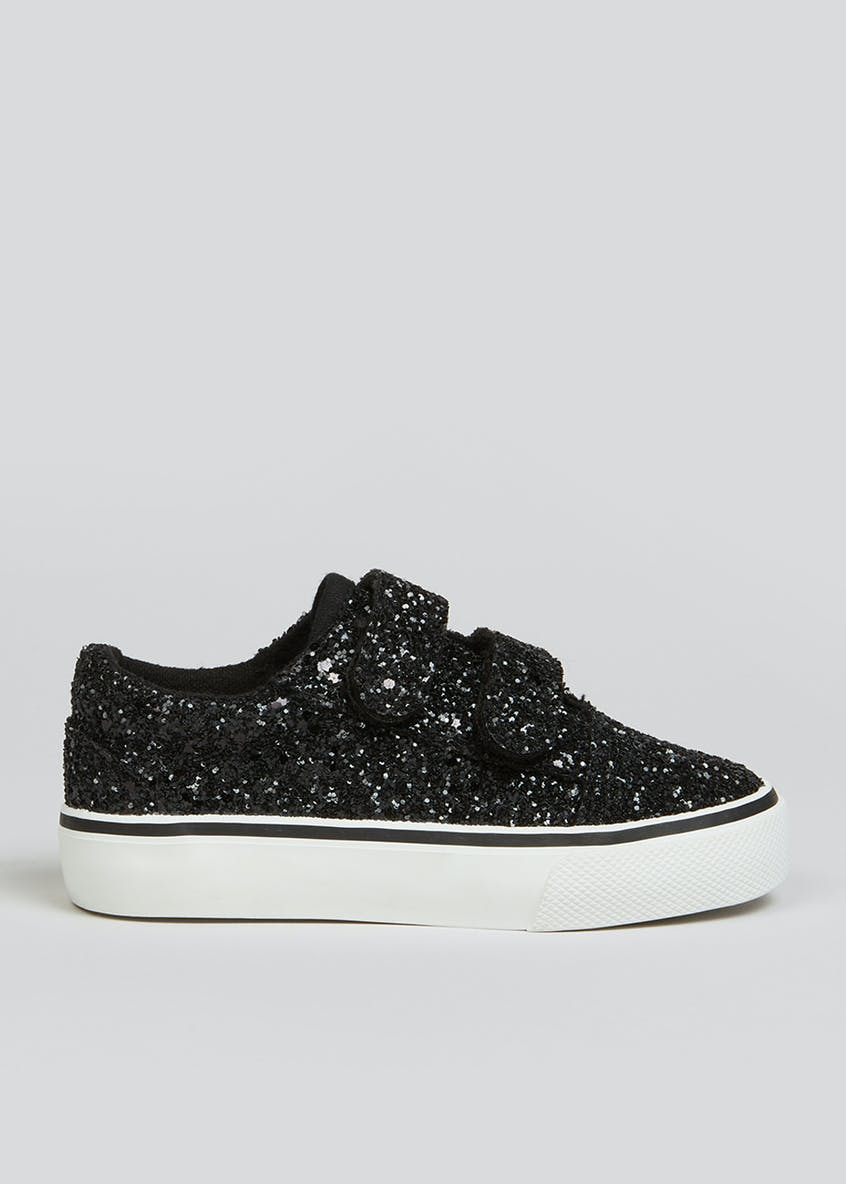 Girls Black Strap Glitter Trainers (Younger 4-12)