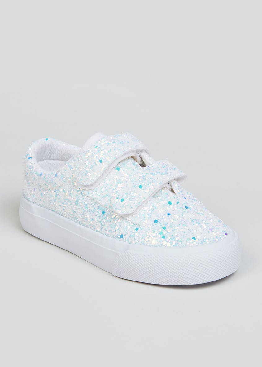 Girls White Double Strap Glitter Trainers (Younger 4-12)