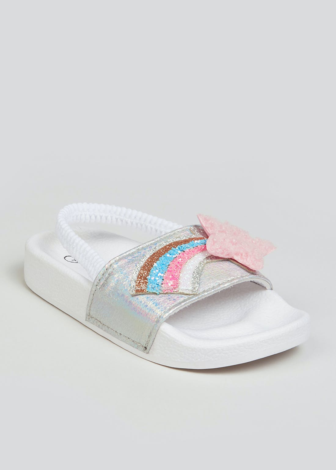 Girls White Sparkle Star Sliders (Younger 4-9)