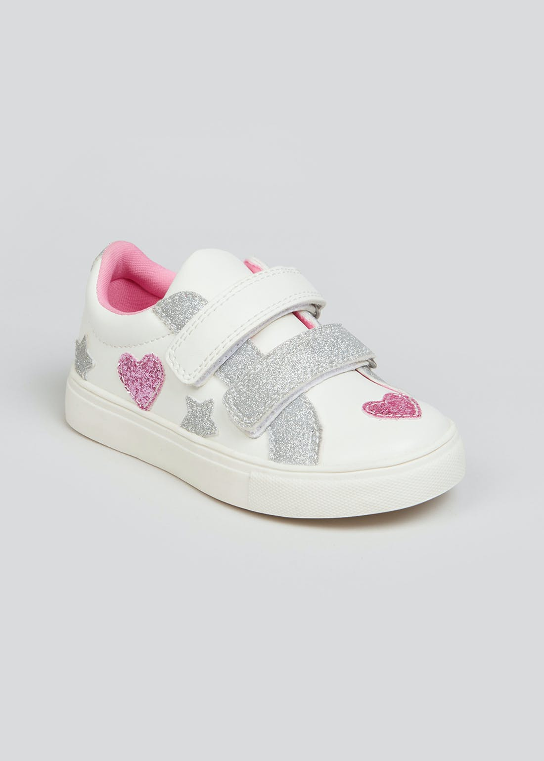 Girls White Sparkle Heart Trainers (Younger 4-12)