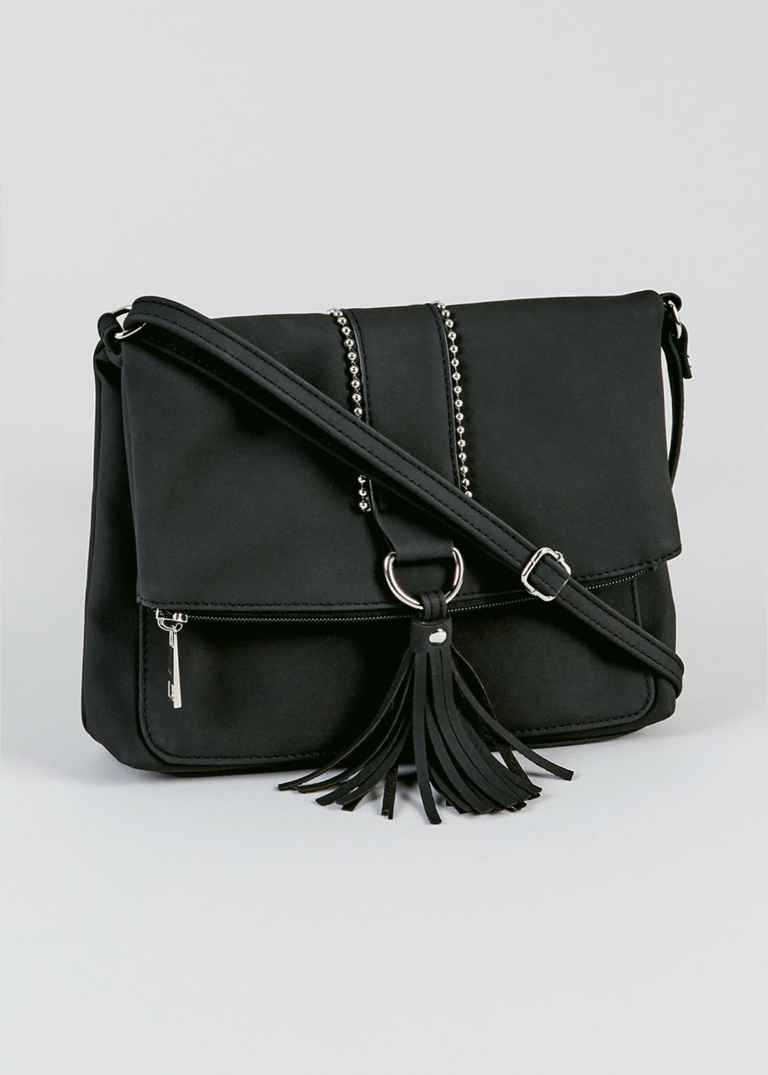 Tassel Fold-Over Cross-Body Bag