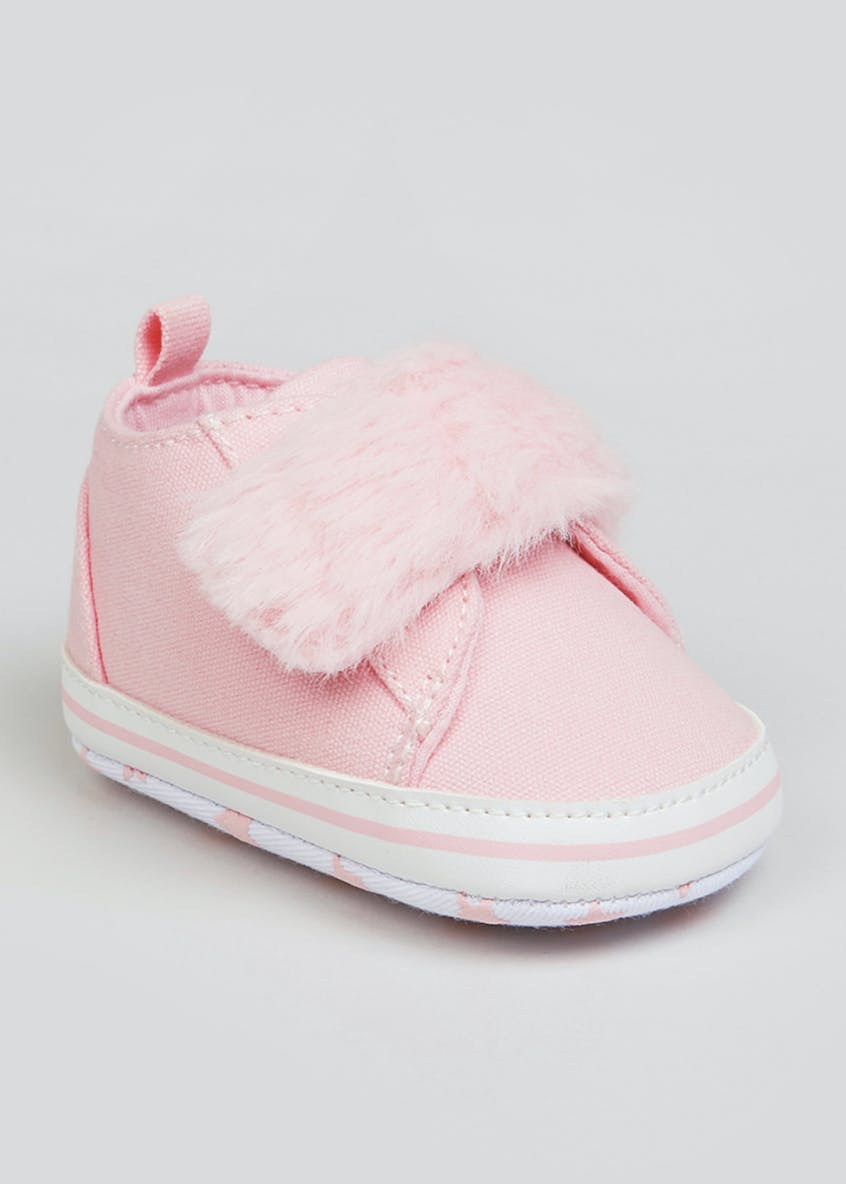 Girls Pink Canvas Baby Trainers (Newborn-18mths)