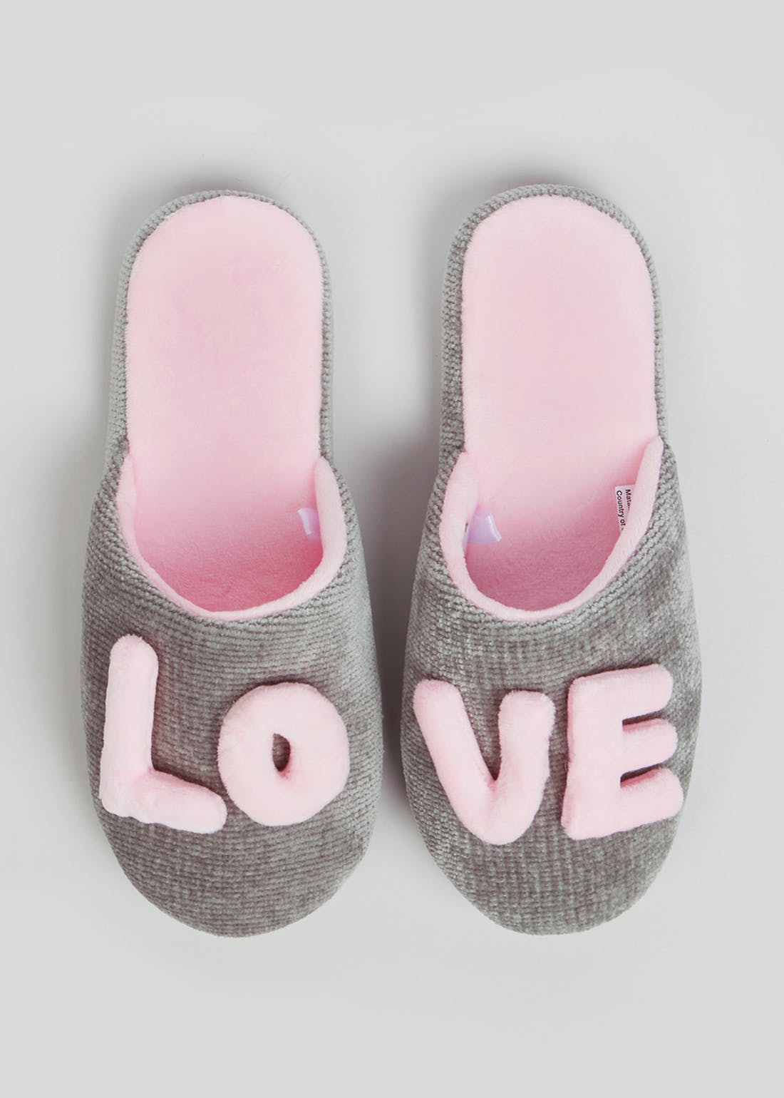 Grey 3D Love Mule Slippers