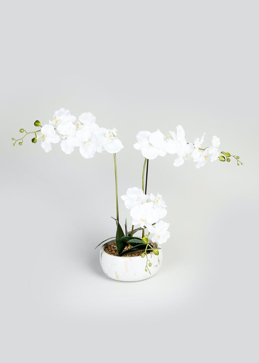 Orchid in Metallic Marble Pot (82cm)