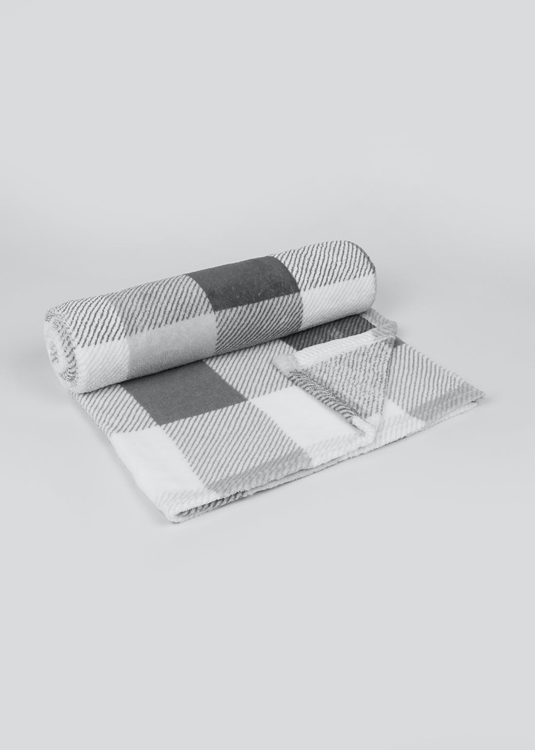 Check Fleece Throw Blanket (150cm x 130cm)