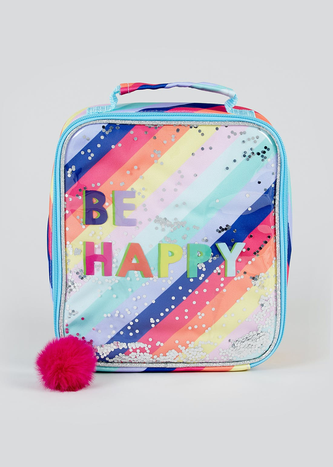 Be Happy Rainbow Glitter Lunch Bag (26cm x 22cm x 6cm)