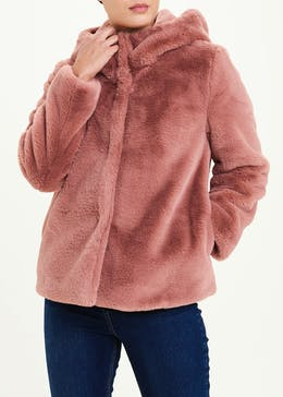 Pink Hooded Faux Fur Jacket