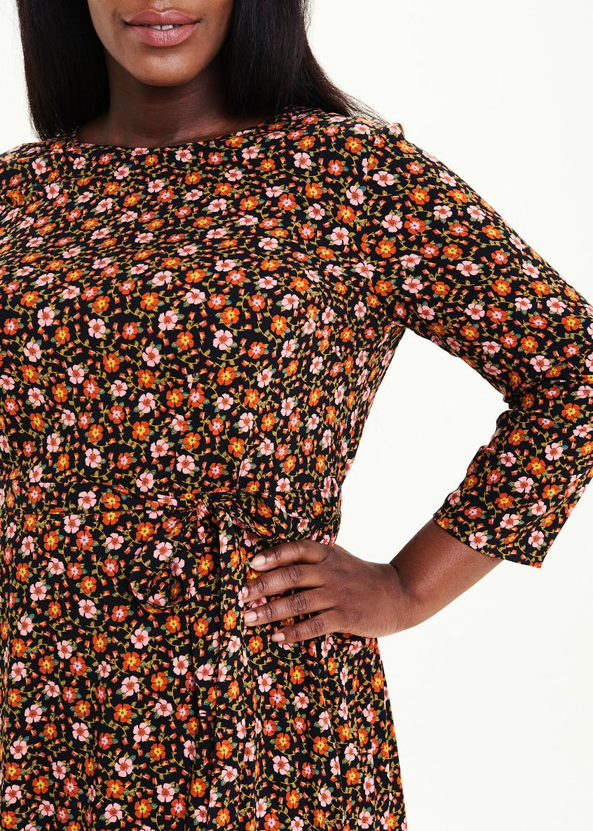 Papaya Curve Orange 3/4 Sleeve Floral Dress