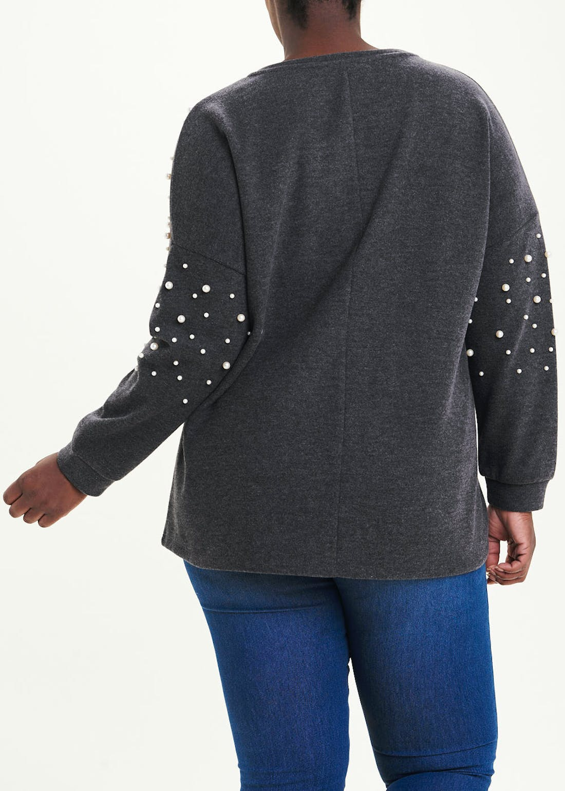 Papaya Curve Pearl Sleeve Sweatshirt