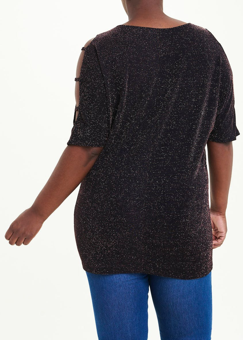 Papaya Curve Sparkle Cold Shoulder Tunic Top