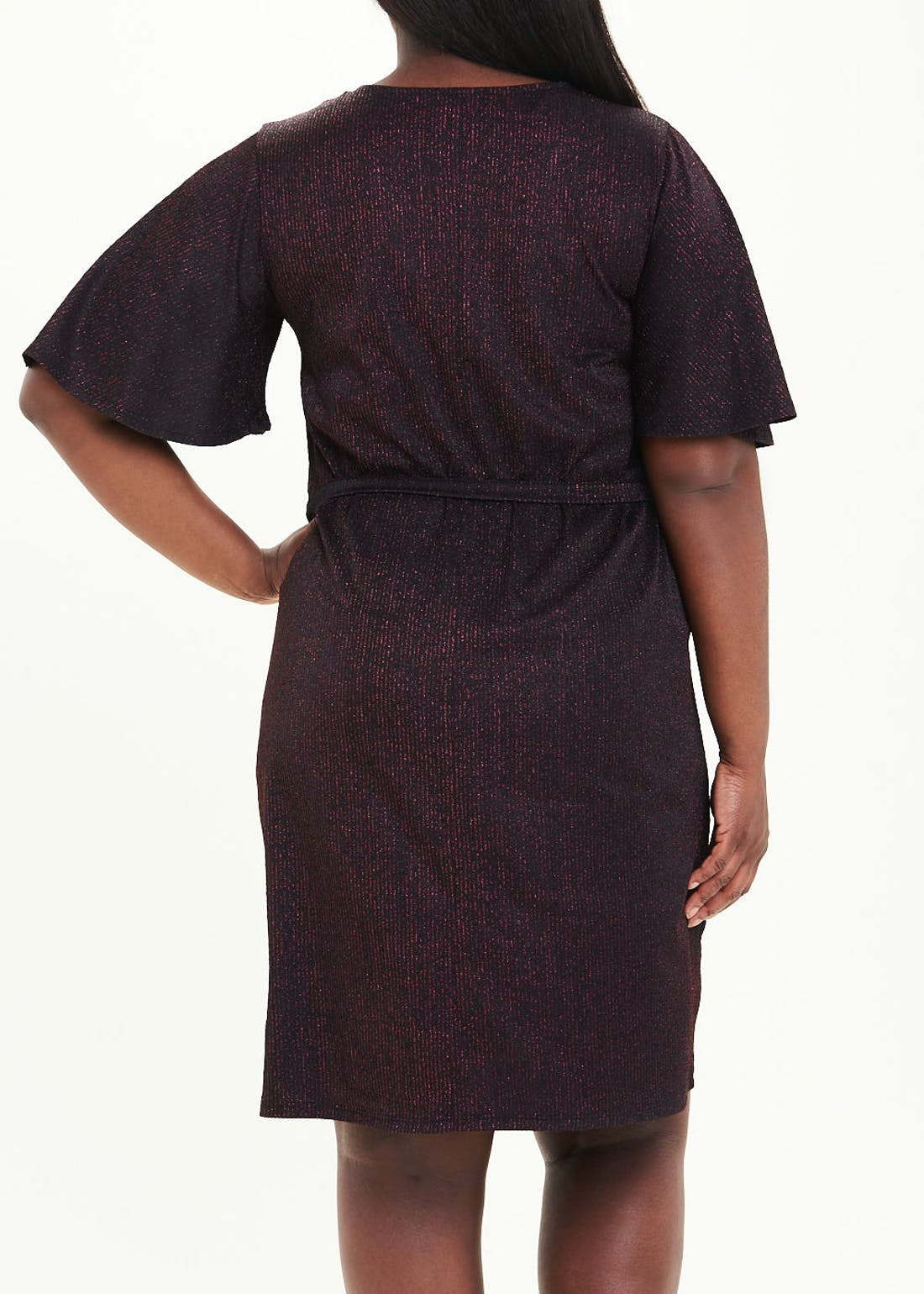 Papaya Curve Black Short Sleeve Belted Sparkle Dress