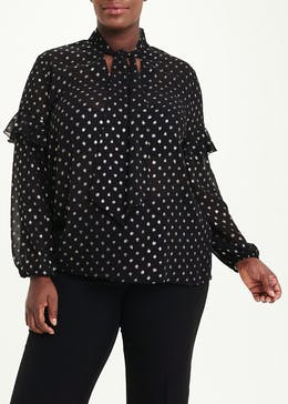 Papaya Curve Black Long Sleeve Metallic Spot Blouse