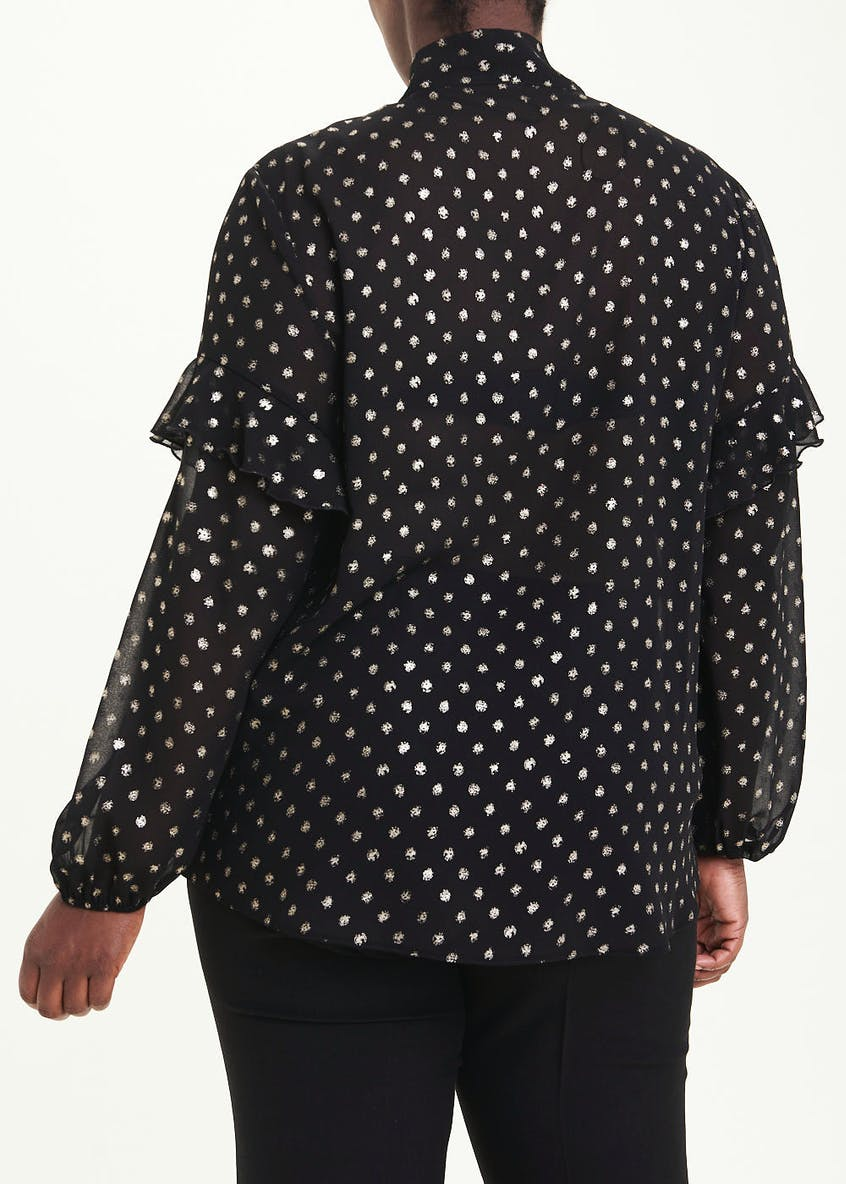Papaya Curve Black Long Sleeve Metallic Spot Pussybow Blouse