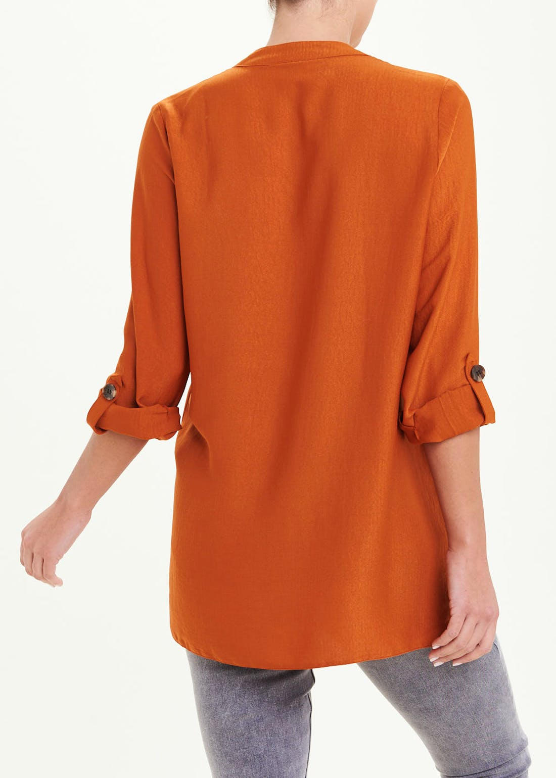 Rust 3/4 Sleeve Shirred Shoulder Button Blouse