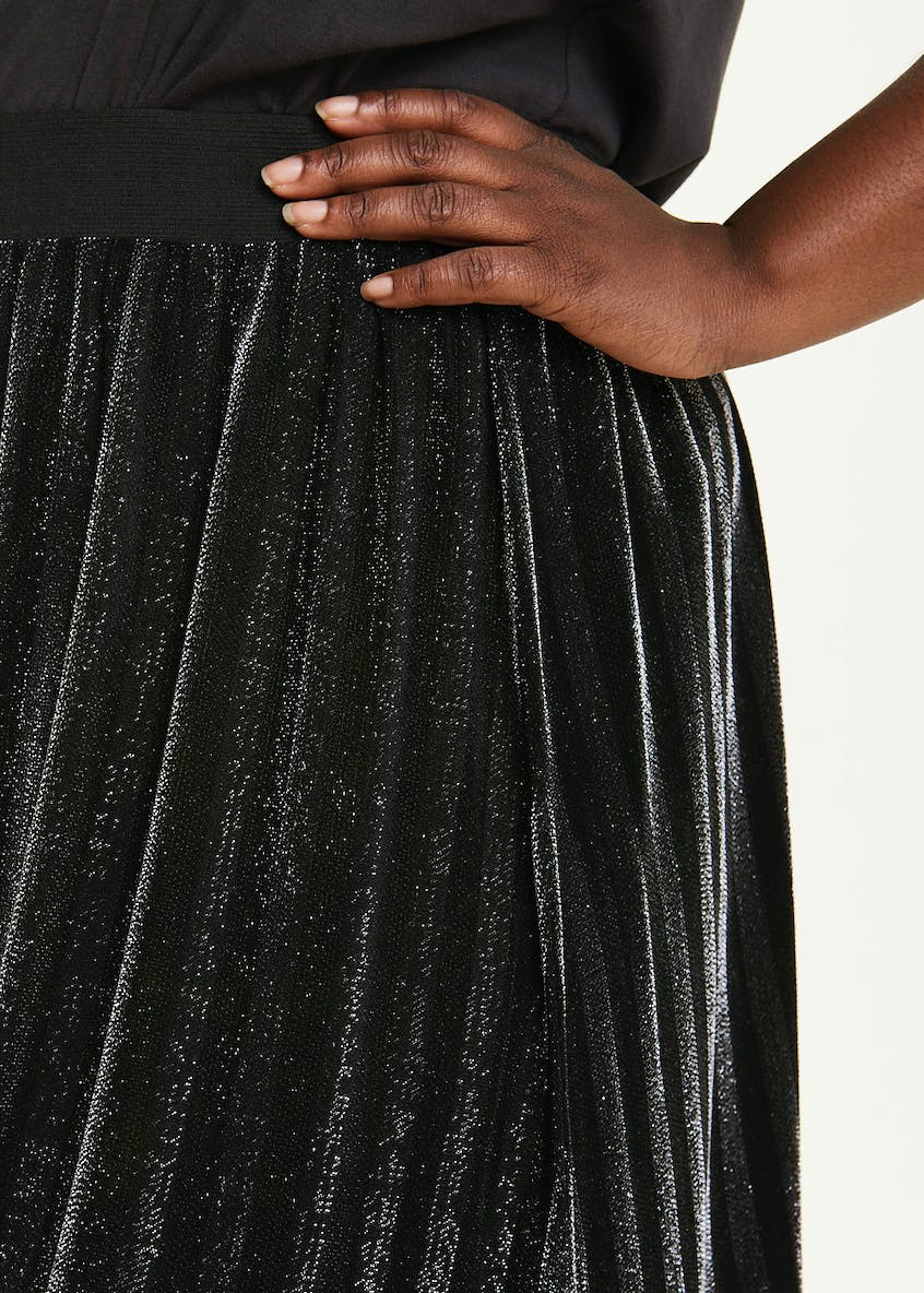 Papaya Curve Metallic Pleated Midi Skirt