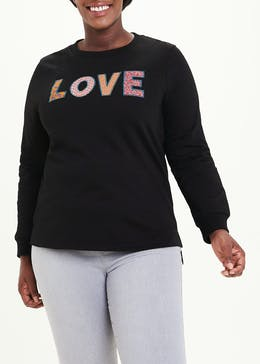 Papaya Curve Love Slogan Sweatshirt