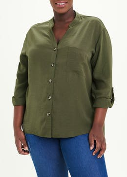 Papaya Curve Khaki Long Sleeve Utility Shirt