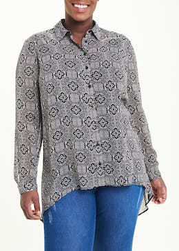 Papaya Curve Black Long Sleeve Tile Print Shirt