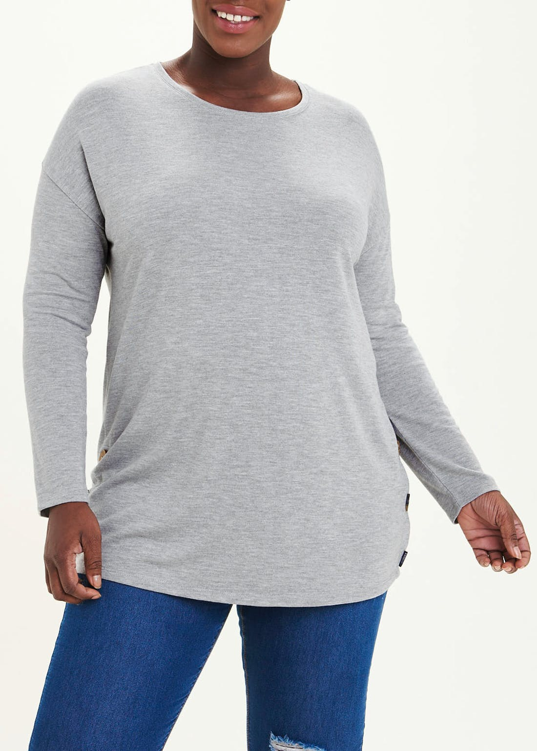 Papaya Curve Long Sleeve Button Side Top