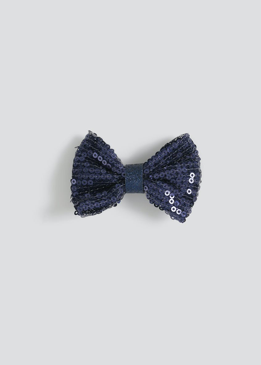 Girls Navy Sequin Bow Hair Clip
