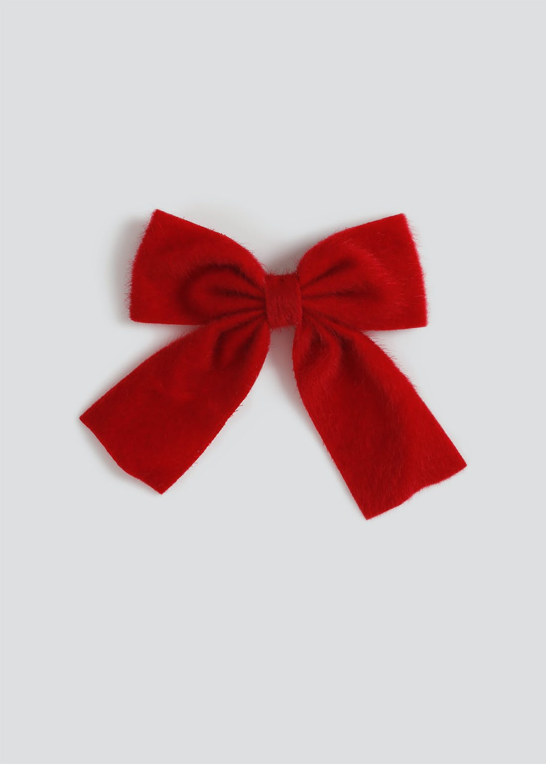 Girls Red Furry Bow Clip