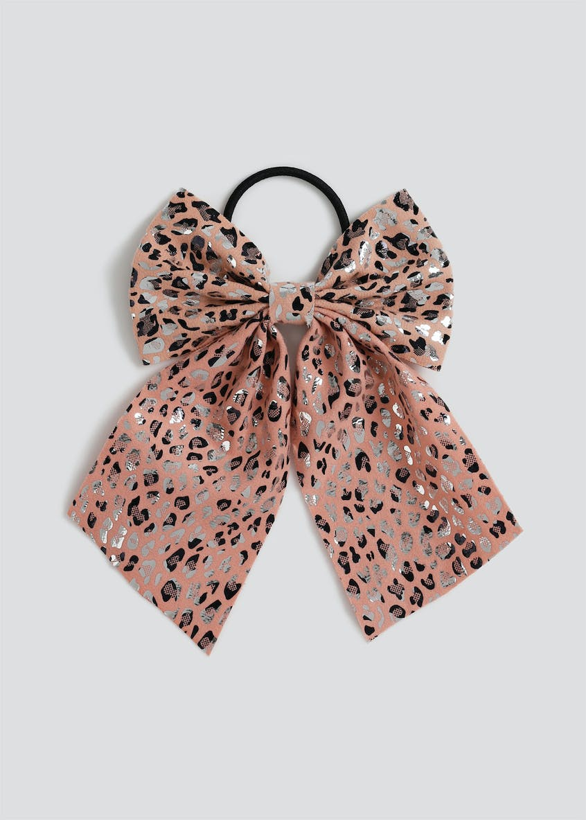 Girls Pink Leopard Bow Ponio