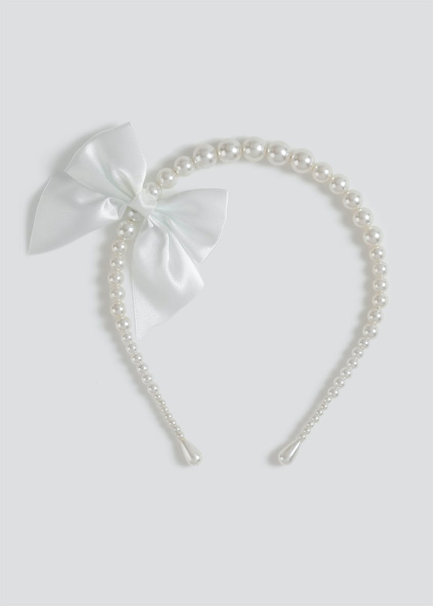 Girls Pearl Bow Alice Band