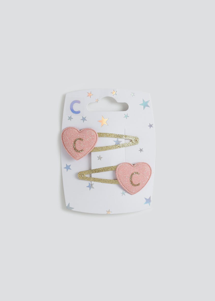 Girls 2 Pack 'C' Initial Hair Clips