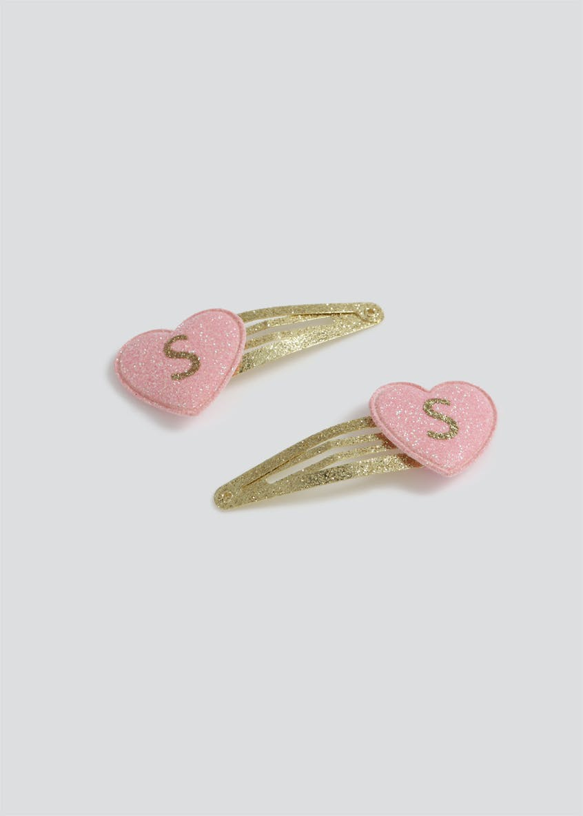 Girls Pink 'S' Initial Hair Clips