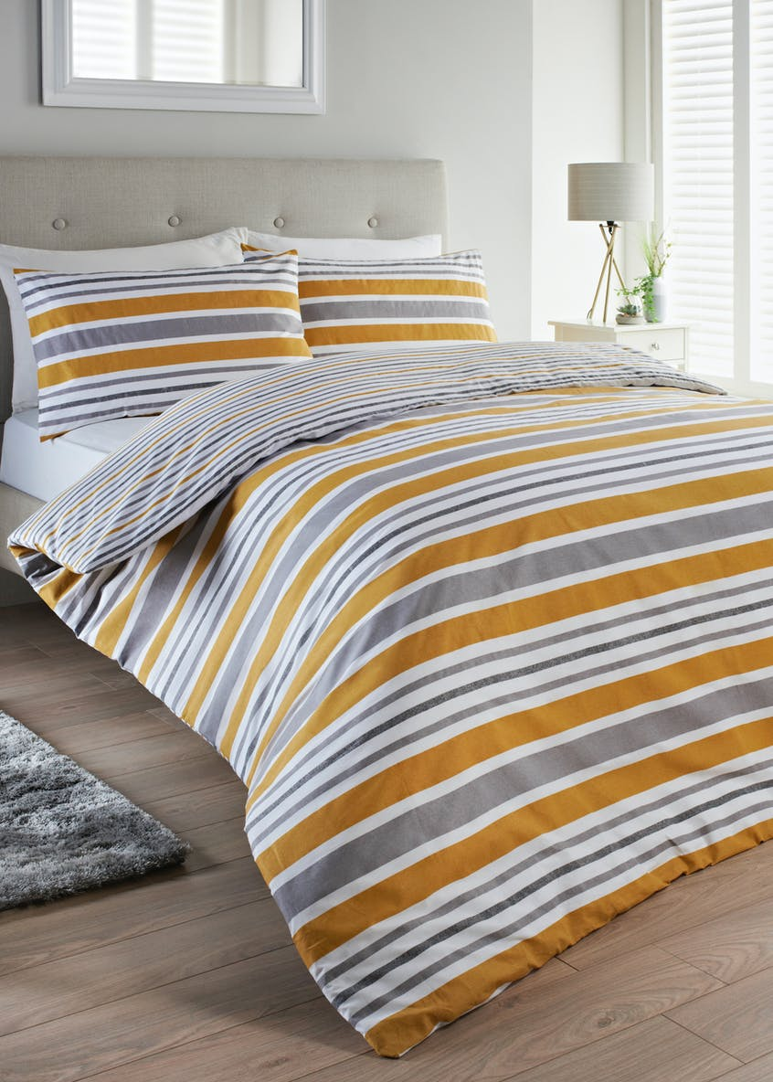 100% Cotton Reversible Stripe Duvet Cover